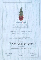 Cape Times Caltex Environmental Award certificate - Photo: Nigel Forshaw